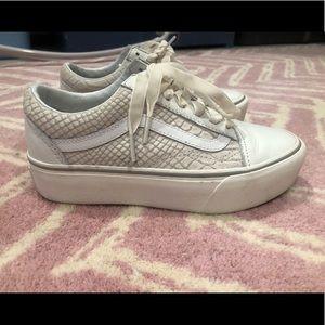 Vans Leather Old Skool Platform Shoes ((leather) Snakewhite) Men White from Vans on 21 Buttons